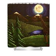 Giraffe In The Moonlight Shower Curtain