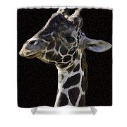 Giraffe In The Morning Pixelated Shower Curtain