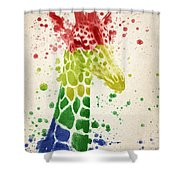Giraffe Splash Shower Curtain by Aged Pixel