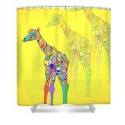 Giraffe X 3 - Yellow Shower Curtain