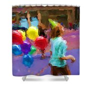 Girl And Her Balloons Shower Curtain