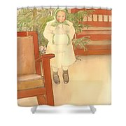 Girl And Rocking Chair Shower Curtain