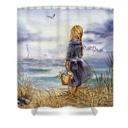 Girl And The Ocean Shower Curtain