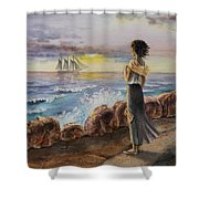 Girl And The Ocean Sailing Ship Shower Curtain
