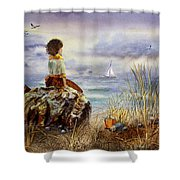 Girl And The Ocean Sitting On The Rock Shower Curtain