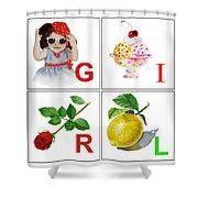 Girl Art Alphabet For Kids Room Shower Curtain