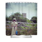 Girl At Gate Shower Curtain