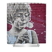Girl Blowing A Dandelion Shower Curtain