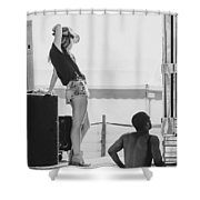 Girl In A Cowboy Hat Shower Curtain