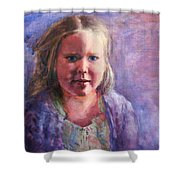 Girl In A Purple Sweater Shower Curtain