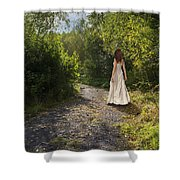 Girl In Country Lane Shower Curtain