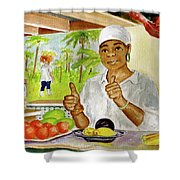Girl In Dominica Mountains Shower Curtain