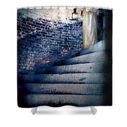 Girl In Nightgown On Circular Stone Steps Shower Curtain