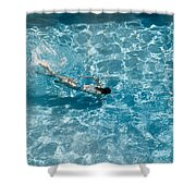 Girl In Pool Shower Curtain