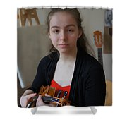 Girl In Red And Black With A Violin Shower Curtain