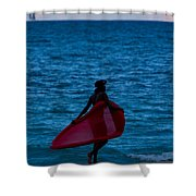 Girl In Red Float Shower Curtain