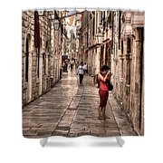 Girl In Red In The White Streets Of Dubrovnik Shower Curtain