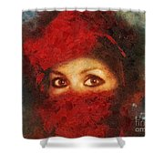 Girl In Red Turban Shower Curtain