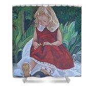 Girl In The Garden Shower Curtain
