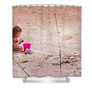 Girl In The Sand Shower Curtain