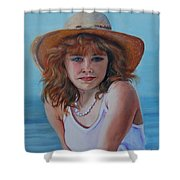 Girl In The Straw Hat Shower Curtain