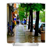 Girl In The Yellow Raincoat Rainy Stroll Through Streets Of The City Montreal Scenes Carole  Shower Curtain