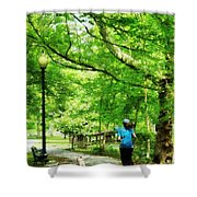 Girl Jogging With Dog Shower Curtain