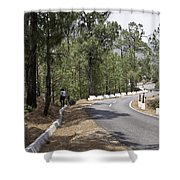 Girl On A Mountain Highway Road Shower Curtain