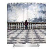 Girl On A Terrace Shower Curtain by Joana Kruse