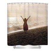 Girl On Beach Shower Curtain