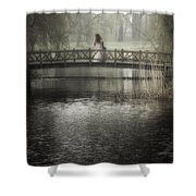 Girl On Bridge Shower Curtain