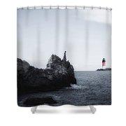 Girl On Cliffs Shower Curtain
