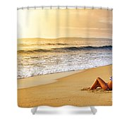 Girl On Seashore  Shower Curtain