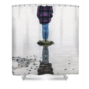 Girl On Stone Shower Curtain