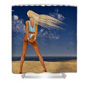 Girl On The Beach... Shower Curtain
