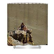 Girl On The Rocks - Compton Bay Shower Curtain