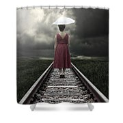 Girl On Tracks Shower Curtain