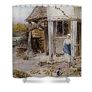 Girl Outside A Cottage Shower Curtain