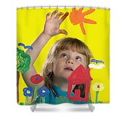Girl Painting On Glass Shower Curtain