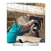 Girl Pets Donkey Shower Curtain