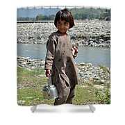 Girl Poses For Camera  Shower Curtain