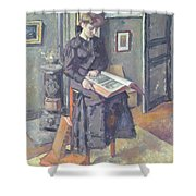 Girl Reading A Book Shower Curtain