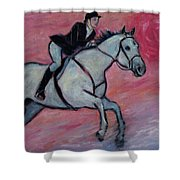 Girl Riding Her Horse I Shower Curtain
