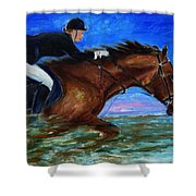 Girl Riding Her Horse II Shower Curtain