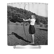 Girl Scout With Bow And Arrow Shower Curtain