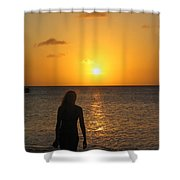 Girl Silhouetted On A Beach At Sunset Shower Curtain