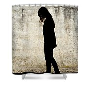 Girl Walking In Front Of Cement Wall Shower Curtain