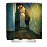 Girl With A Candle Shower Curtain
