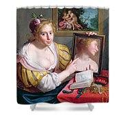 Girl With A Mirror, An Allegory Shower Curtain
