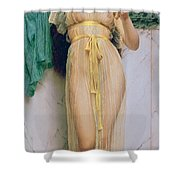 Girl With A Mirror Shower Curtain